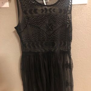 Free People Sheer Black Tribal Tunic Dress/Coverup